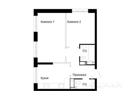 2-комн квартира, 45.9 м<sup>2</sup>, 13 этаж_1