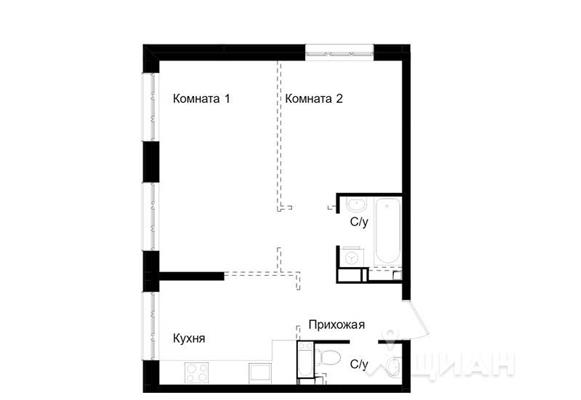 2-комнатная квартира, 45.9 м<sup>2</sup>, 13 этаж_1