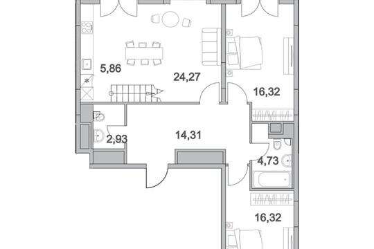 5-комнатная квартира, 141.51 м<sup>2</sup>, 17 этаж