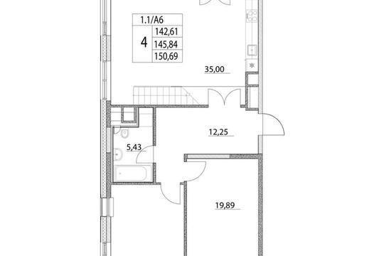 4-комнатная квартира, 145.84 м<sup>2</sup>, 17 этаж