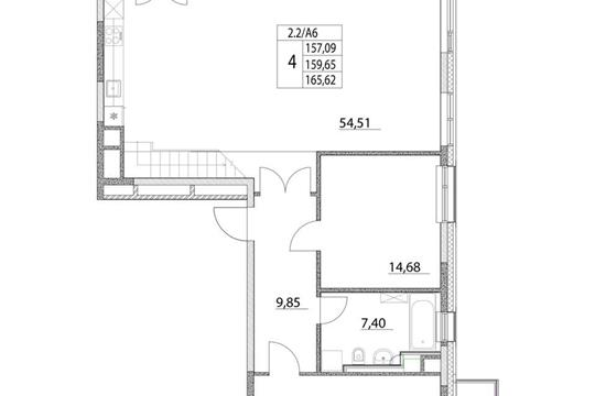 4-комнатная квартира, 159.83 м<sup>2</sup>, 17 этаж