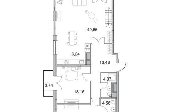 4-комнатная квартира, 187.9 м<sup>2</sup>, 17 этаж
