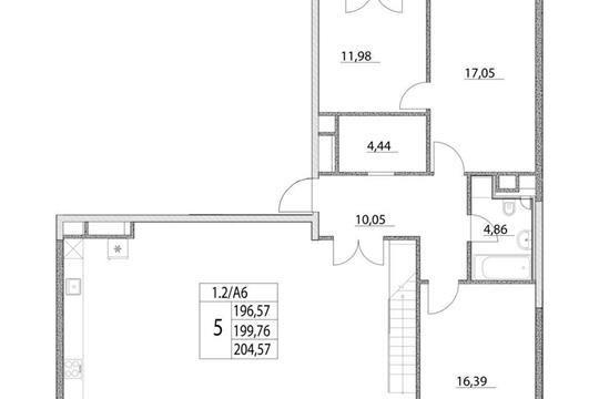 5-комнатная квартира, 199.76 м<sup>2</sup>, 17 этаж