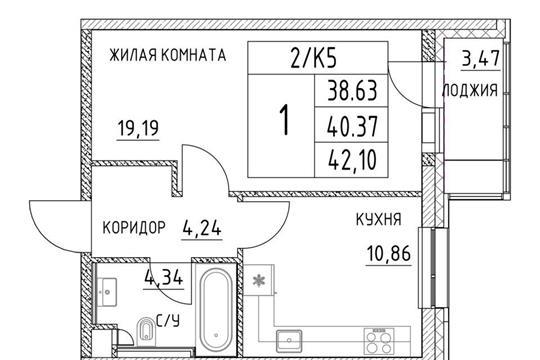 1-комнатная квартира, 40.37 м<sup>2</sup>, 2 этаж_1