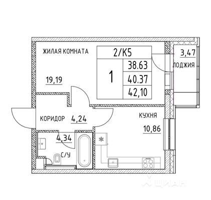 1-комн квартира, 40.37 м<sup>2</sup>, 2 этаж_1