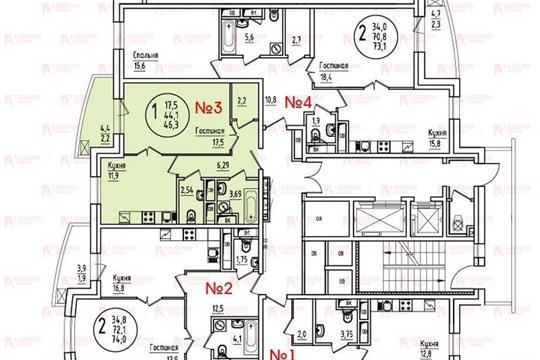 1-комн квартира, 46.4 м<sup>2</sup>, 10 этаж_1