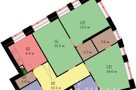 3-комнатная квартира, 77.9 м<sup>2</sup>, 16 этаж_1