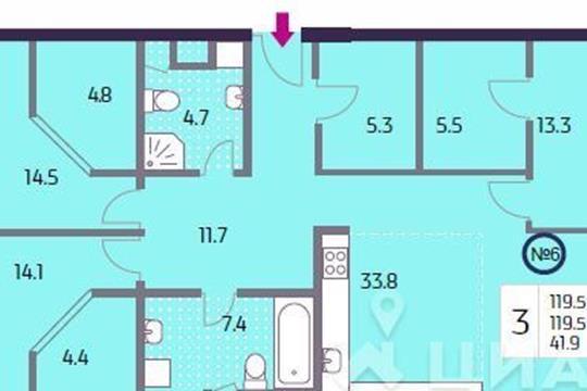 3-комн квартира, 119.5 м<sup>2</sup>, 4 этаж_1
