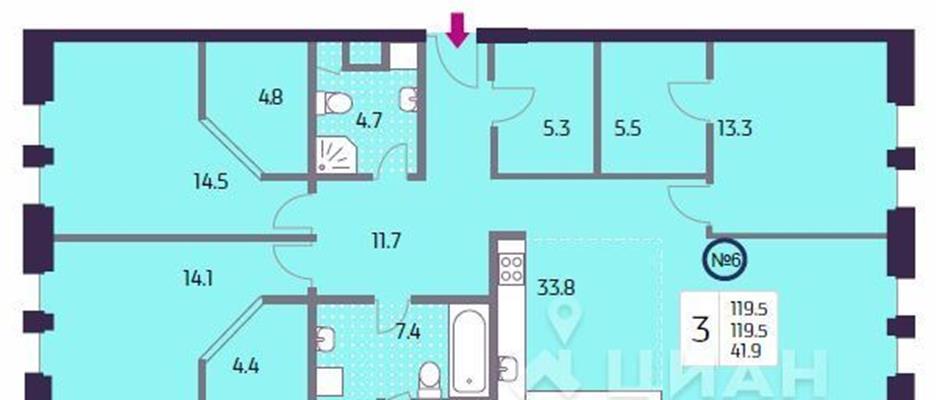3-комн квартира, 119.5 м2, 4 этаж - фото 1