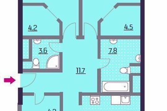 3-комнатная квартира, 116.1 м2, 15 этаж