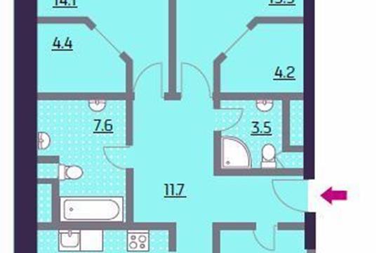 3-комнатная квартира, 115.1 м2, 16 этаж