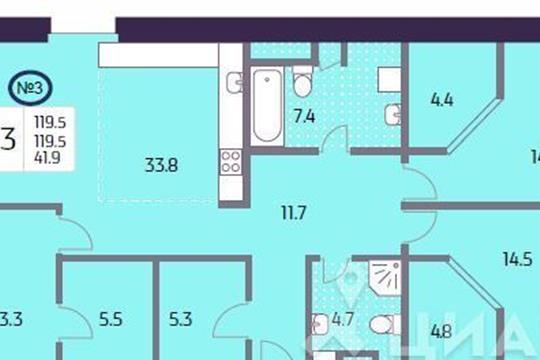 3-комн квартира, 119.5 м<sup>2</sup>, 13 этаж_1