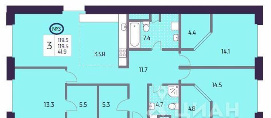 3-комн квартира, 119.5 м2, 13 этаж - фото 1