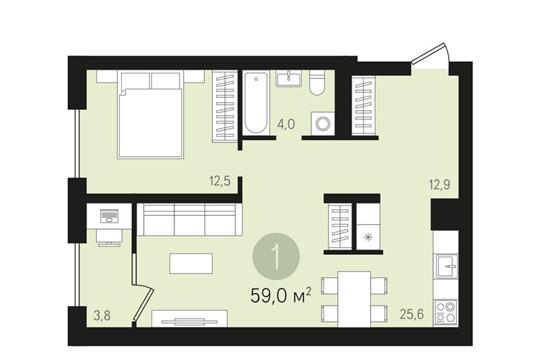 1-комн квартира, 59 м<sup>2</sup>, 7 этаж_1