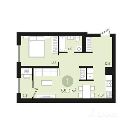 1-комн квартира, 59 м2, 7 этаж - фото 1