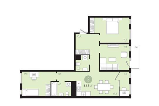 3-комн квартира, 82.4 м<sup>2</sup>, 7 этаж_1