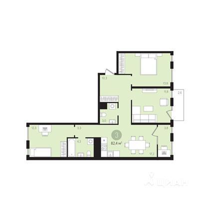 3-комн квартира, 82.4 м2, 7 этаж - фото 1
