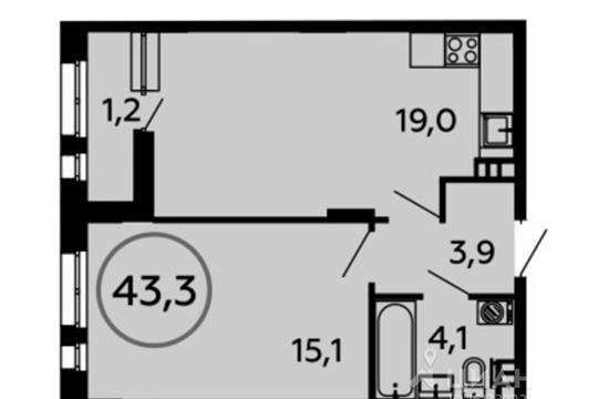 1-комн квартира, 43.3 м<sup>2</sup>, 6 этаж_1