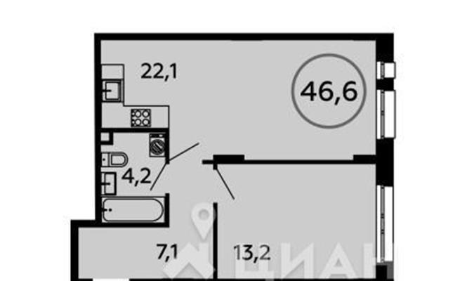 1-комн квартира, 46.6 м2, 2 этаж - фото 1
