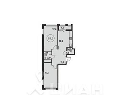 2-комн квартира, 65.5 м<sup>2</sup>, 11 этаж_1