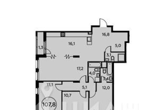 4-комнатная квартира, 107.8 м<sup>2</sup>, 3 этаж