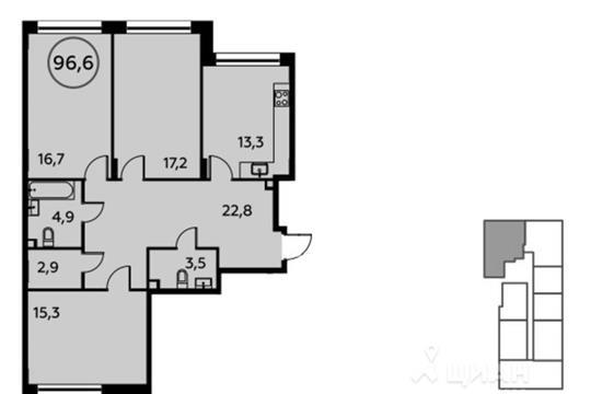 3-комнатная квартира, 96.6 м<sup>2</sup>, 12 этаж
