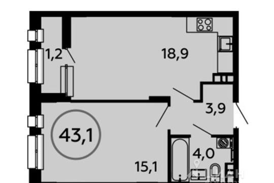 1-комнатная квартира, 43.1 м<sup>2</sup>, 12 этаж_1
