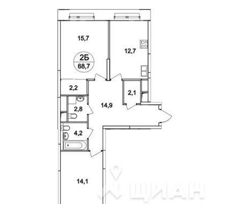 2-комн квартира, 68.7 м<sup>2</sup>, 25 этаж_1