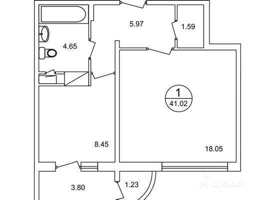 1-комнатная квартира, 40.7 м<sup>2</sup>, 2 этаж_1