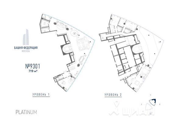 5-комн квартира, 719 м2, 93 этаж - фото 1