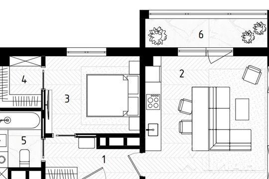 1-комнатная квартира, 47.6 м<sup>2</sup>, 7 этаж_1