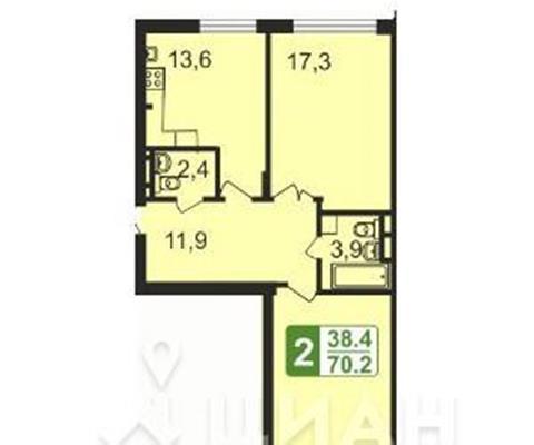 2-комн квартира, 70.2 м<sup>2</sup>, 1 этаж_1