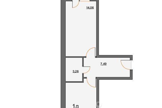 1-комнатная квартира, 39.45 м<sup>2</sup>, 1 этаж