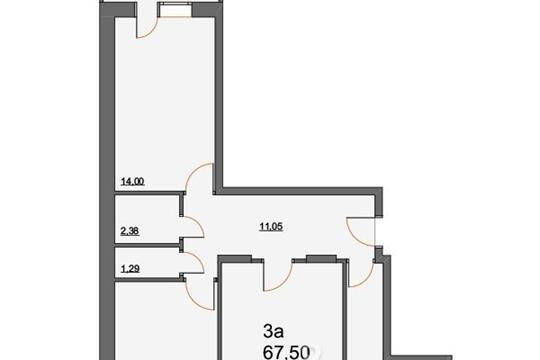 3-комнатная квартира, 67.5 м<sup>2</sup>, 2 этаж