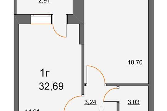 1-комнатная квартира, 32.69 м<sup>2</sup>, 1 этаж