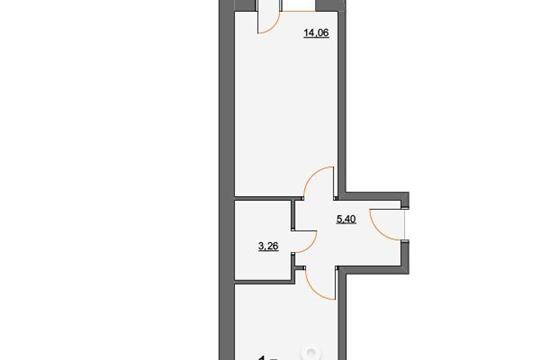 1-комнатная квартира, 37.36 м<sup>2</sup>, 2 этаж
