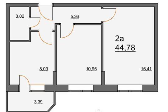 2-комнатная квартира, 44.78 м<sup>2</sup>, 2 этаж