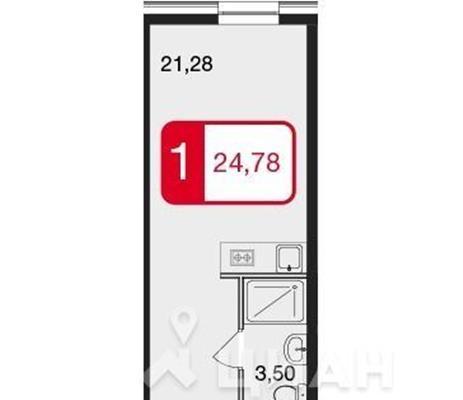 Студия, 24.78 м<sup>2</sup>, 10 этаж_1