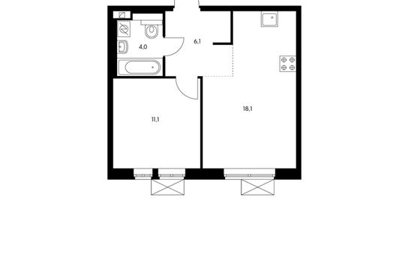1-комнатная квартира, 39.3 м<sup>2</sup>, 2 этаж