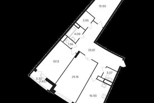 3-комн квартира, 120.7 м2, 7 этаж