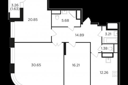 3-комн квартира, 106.76 м2, 4 этаж