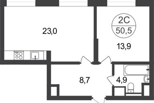 2-комнатная квартира, 50.5 м<sup>2</sup>, 1 этаж