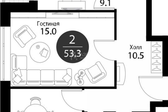 2-комн квартира, 53.3 м2, 5 этаж