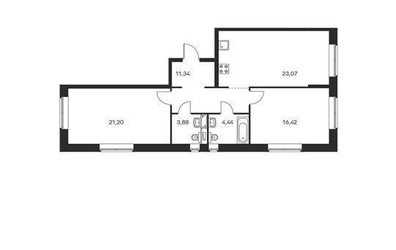 2-комнатная квартира, 80.35 м<sup>2</sup>, 7 этаж_1