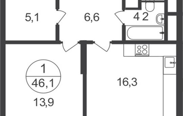 1-комнатная квартира, 46.1 м2, 25 этаж