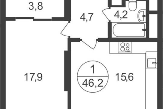 1-комнатная квартира, 46.2 м2, 10 этаж