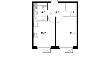 1-комнатная квартира, 33.7 м<sup>2</sup>, 6 этаж