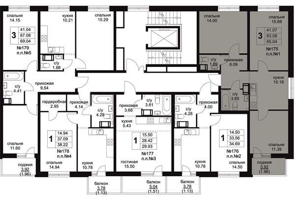 3-комн квартира, 65.04 м2, 7 этаж - фото 1