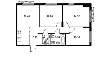 3-комнатная квартира, 69.15 м<sup>2</sup>, 10 этаж