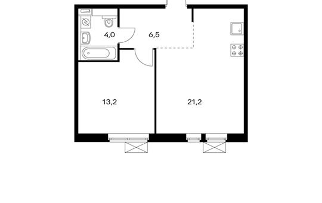 1-комнатная квартира, 44.9 м<sup>2</sup>, 13 этаж